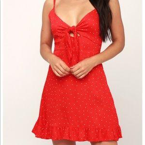 MINKPINK Santorini Dress Red White Polka Dot